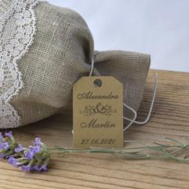 mariage - étiquette - cadeau invité - dragée - olivier - provence -  papier kraft