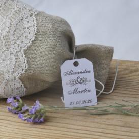 mariage - étiquette - cadeau invité - dragée - olivier - provence -  papier blanc