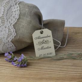mariage - étiquette - cadeau invité - dragée - olivier - provence -  papier ivoire