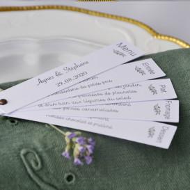menu - mariage - olivier - provence - champêtre - papier blanc