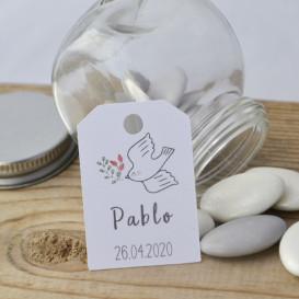 naissance, baptême, colombe - papier blanc
