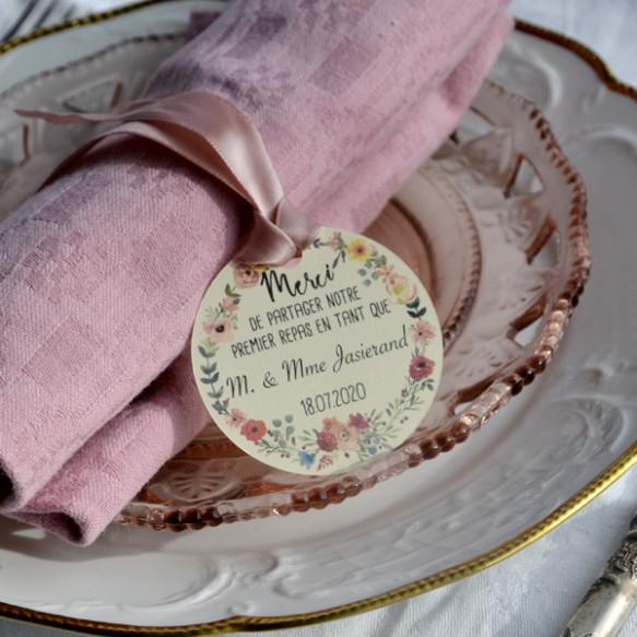 étiquette mariage, monsieur et madame, premier repas, papier ivoire, couronne florale