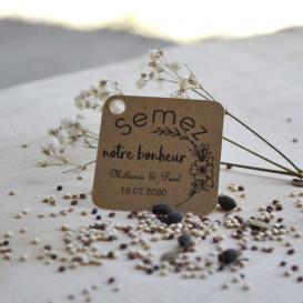 étiquette, mariage, sachet de graines, diy