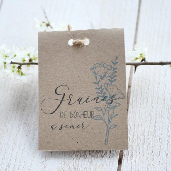 sachet graines, mariage, fleur épuré, papier kraft