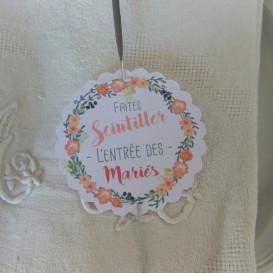 mariage étiquette bâton étincelle, cierge magique, couronne de fleurs