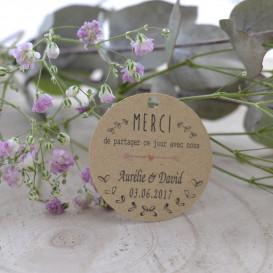 mariage, champêtre, étiquette feuillage, dragée, cadeau invité, papier kraft