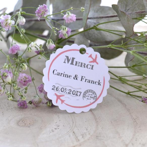 étiquette mariage, voyage, lune de miel, papier blanc, cadeau invité, dragées