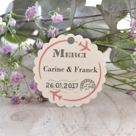 étiquette mariage, thème voyage, lune de miel, papier ivoire, cadeau invité, pochon dragée